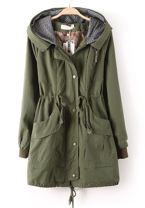 Green Zipper Drawstring Pockets Cotton Trench Coat