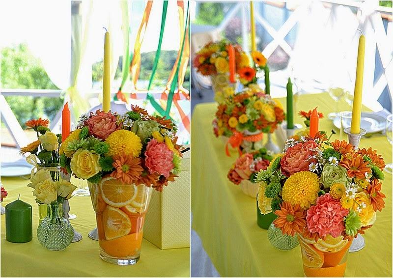 декор свадьбы цитрусами