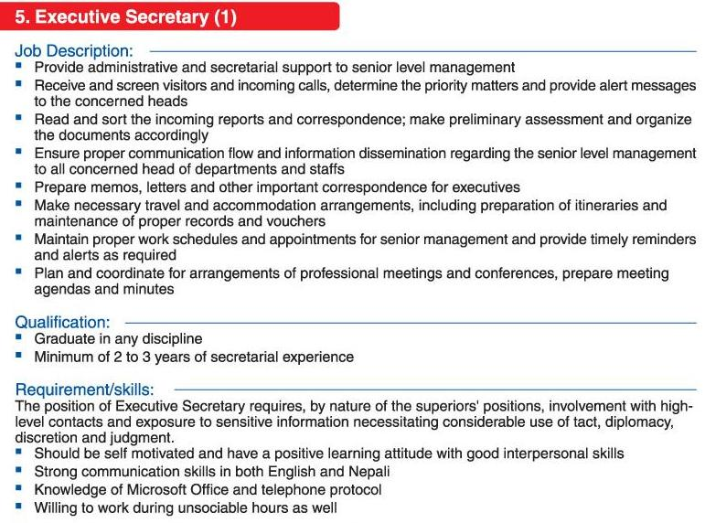 Apca Nepal  Executive Secretary  Jobs In Nepal