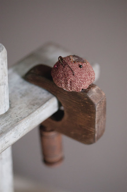 "SEWING CLAMP WITH ANTIQUE FABRIC PINCUSHION, 5""H X 3 1/4""W, Price $35"