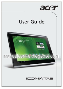 Acer Iconia TAB A500 Manual Cover