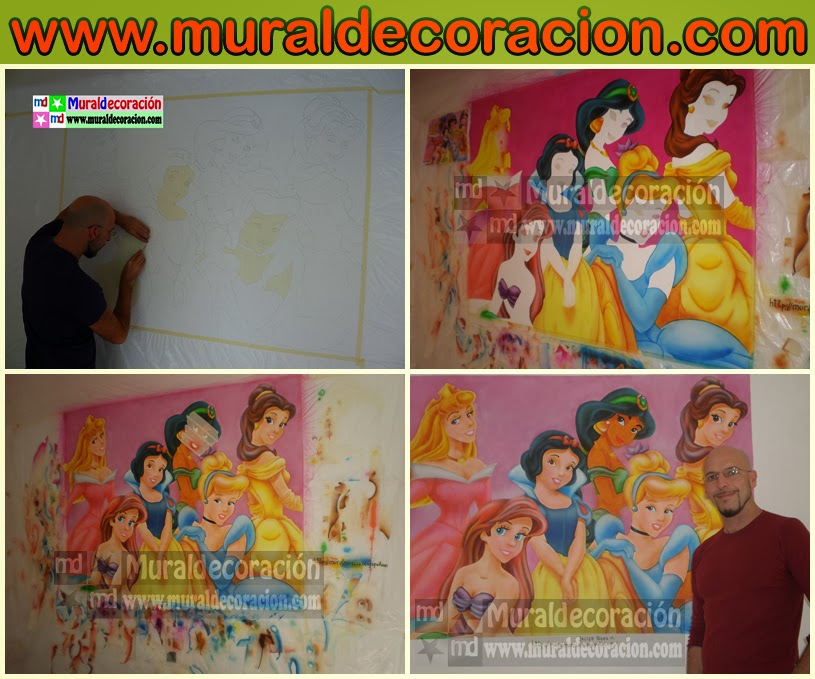 Todas las Princesas Disney posan juntas en un mural infantil