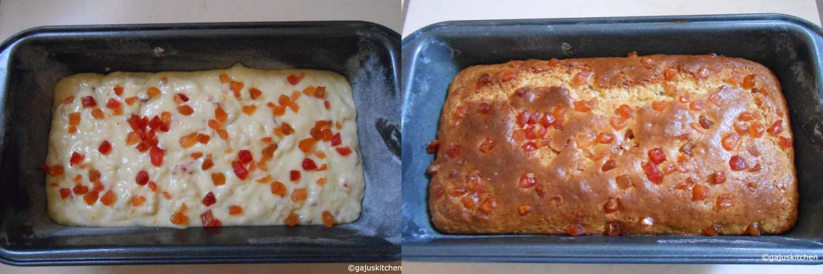 cake before and after baking