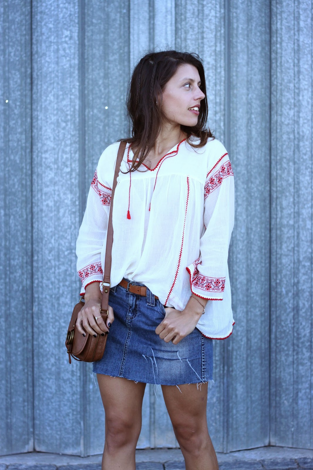 image denim skirt with cowboy boots