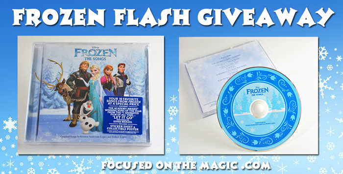 Two Winners!  Frozen: The Songs CD Flash Giveaway