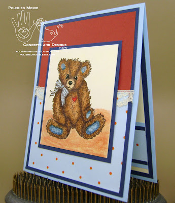 Picture of my lace embellished teddy bear card set at a left angle to show dimensional elements