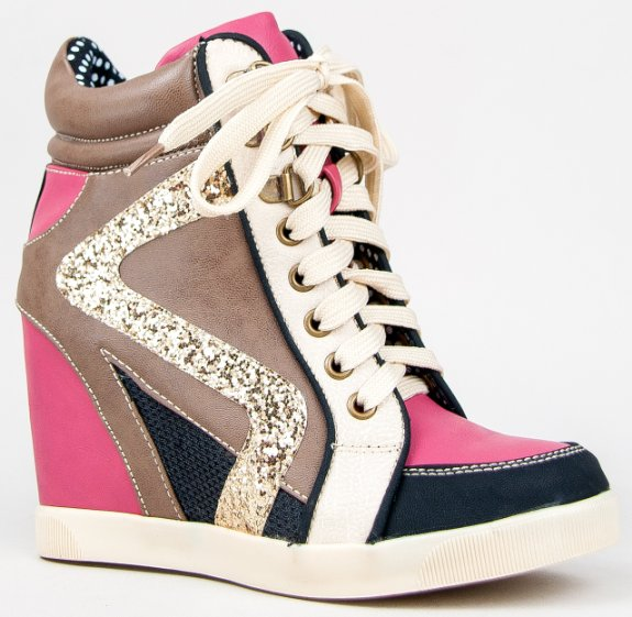 Bamboo JODIE-01 Glitter Wedge Heel Lace Up Top Wedge Sneaker Shoe ...