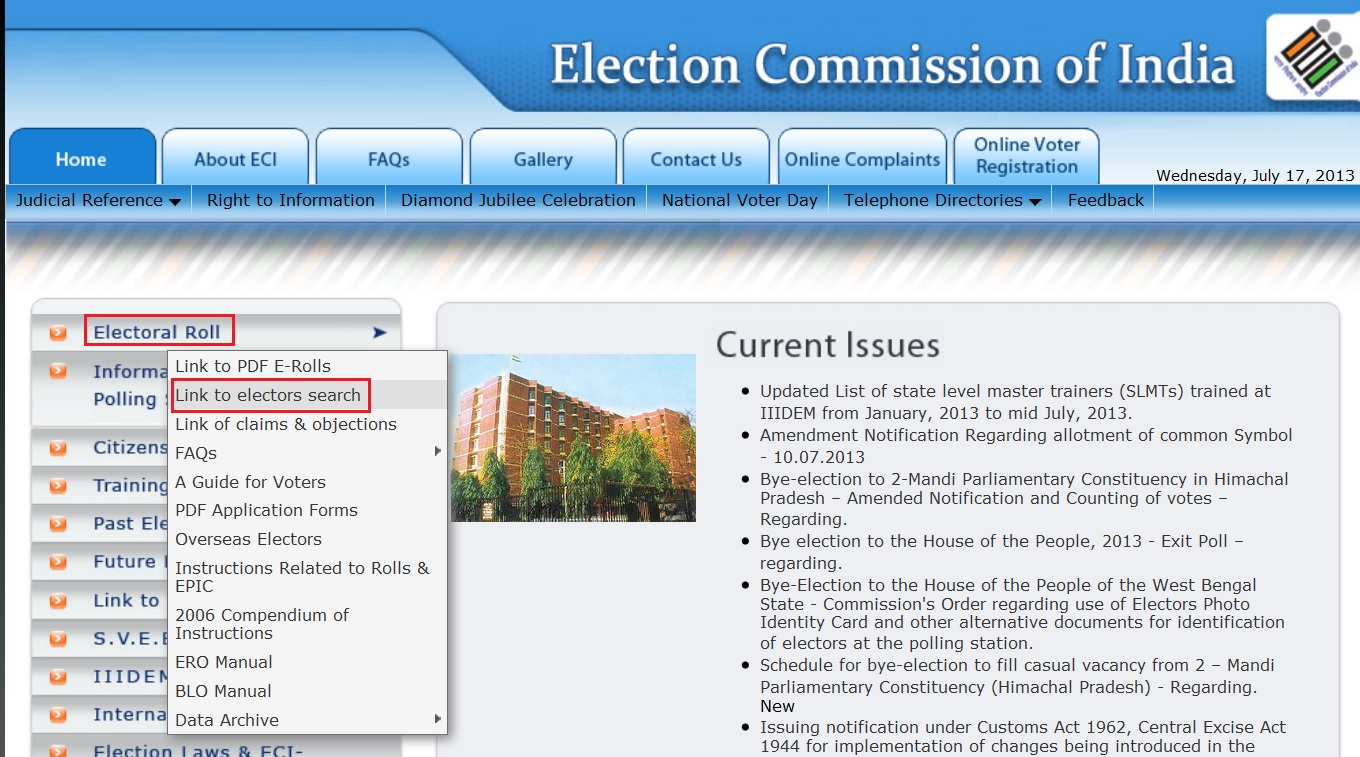 Election Commission of India Homepage