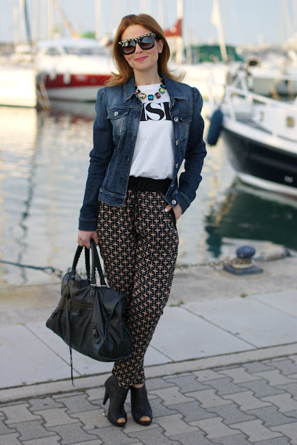 Miss Sixty jeans jacket, ethnic print baggy pants, Zara necklace, Fashion and Cookies