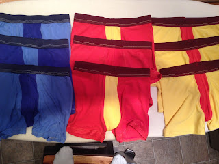 Nine pairs of colorful boys underwear