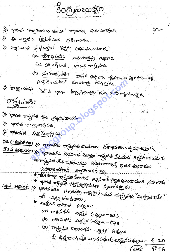 Indian Polity Telugu Medium Class Notes for UPSC IAS, APPSC Group 1 & Group 2 Exams, Indian Constitution Notes download Pdf, indian constitution general knowledge questions constitution of india in telugu APPSC Material Download for Government Jobs in Andhra Pradesh & Telangana.