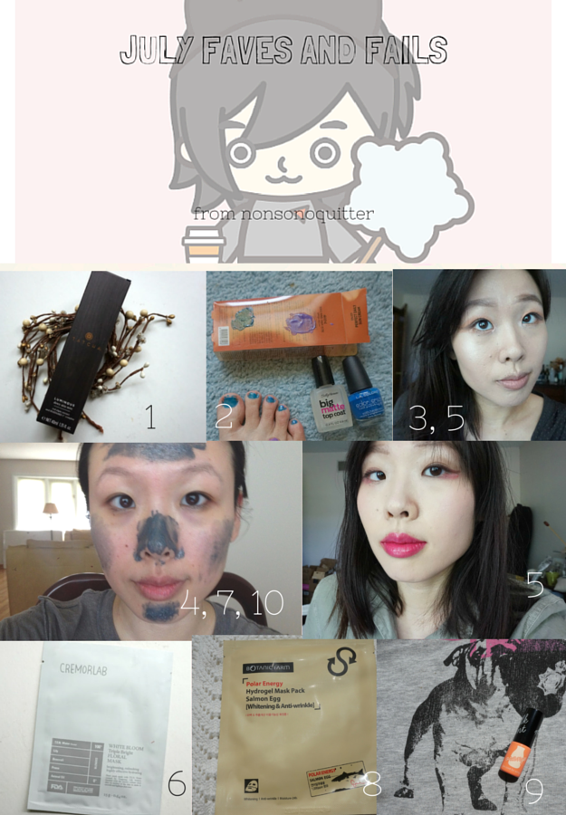 Favorites and Fails from July 2015: Mini reviews Tatcha Luminous Dewy Skin Mist, Seche Vite, Sally Hansen Matte Top Coat Nail Polish, Vinegar hair rinse, Leejiham ljh Tea Tree 90 Essence, Cremorlab White Bloom Triple Bright Floral Mask, Caolion Blackhead Steam Pore Pack Premium, Botanic Farm Polar Energy Hydrogel Mask Pack Salmon Egg, Too Cool For School TCFS Milk Tint in Orange, Mizon Intensive Skin Barrier Serum Deep Moisture Lifting Care, Mizon Water Volume Ex Cream Hydra Tox Water Full Moisture Skin, The Saem Harakeke, Etude House Moistfull Collagen Cream, Simple Cleansing facial wipes