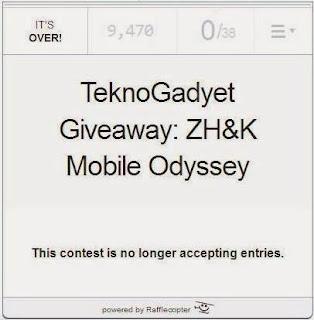 TeknoGadyet Giveaway: ZH&K Mobile Odyssey Winner