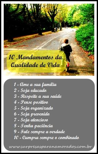 10 mandamentos da qualidade de vida