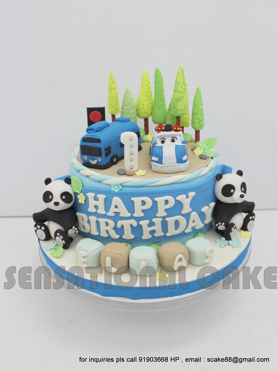 Gmail panda theme - Panda 1st Birthday Cake Singapore Police Car And Taiyo Bus Theme Cake Singapore Blue Vehicle Theme Party Cake Singapore Dessert Table Singapore