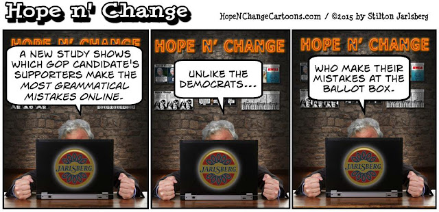 obama, obama jokes, political, humor, cartoon, conservative, hope n' change, hope and change, stilton jarlsberg, GOP, candidates, Grammarly, grammar