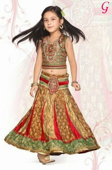 Babies Latest-Mehndi-Dresses-for-kids-Girls Images