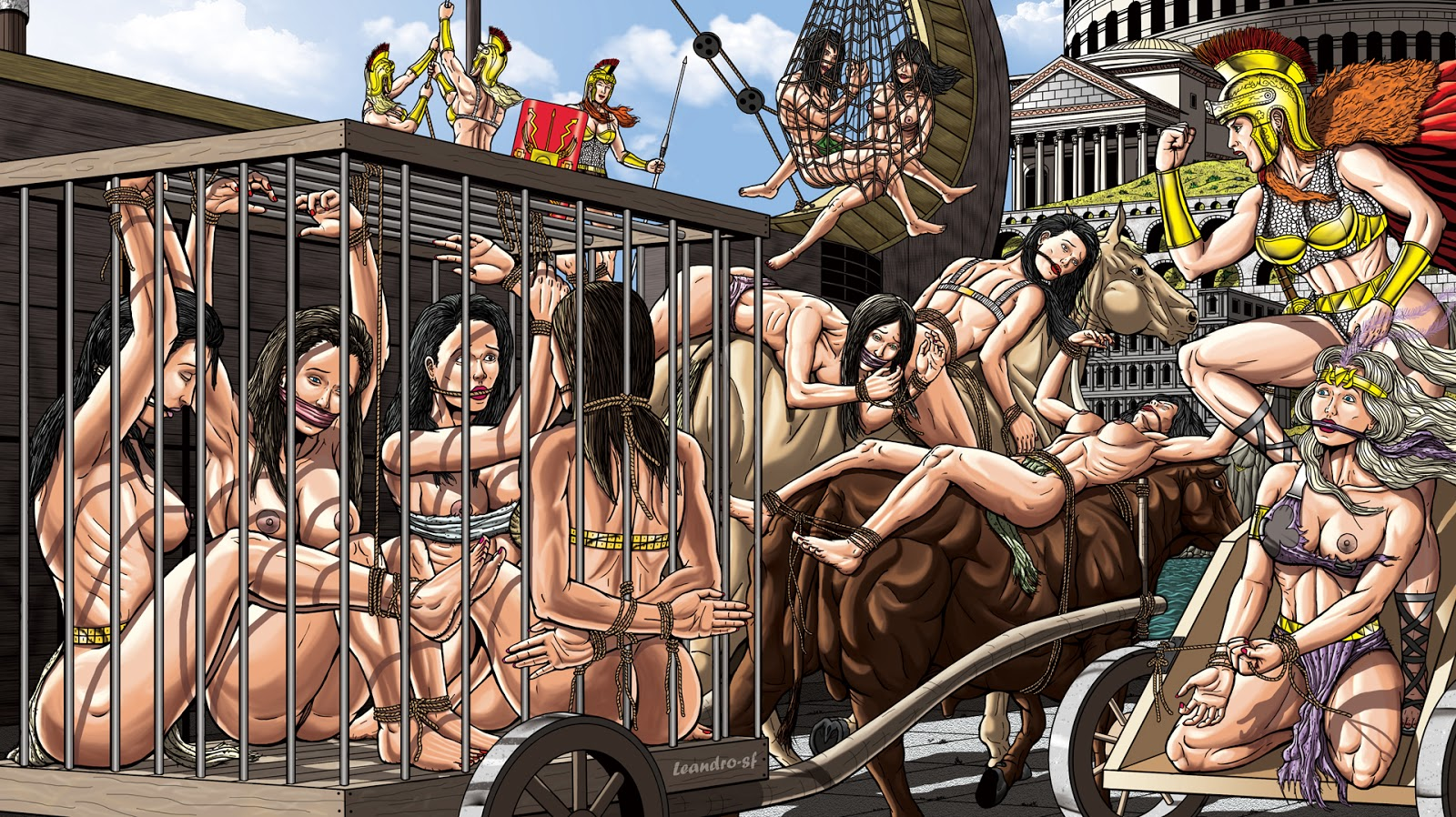 Cartoon naked women at a slave market sex image