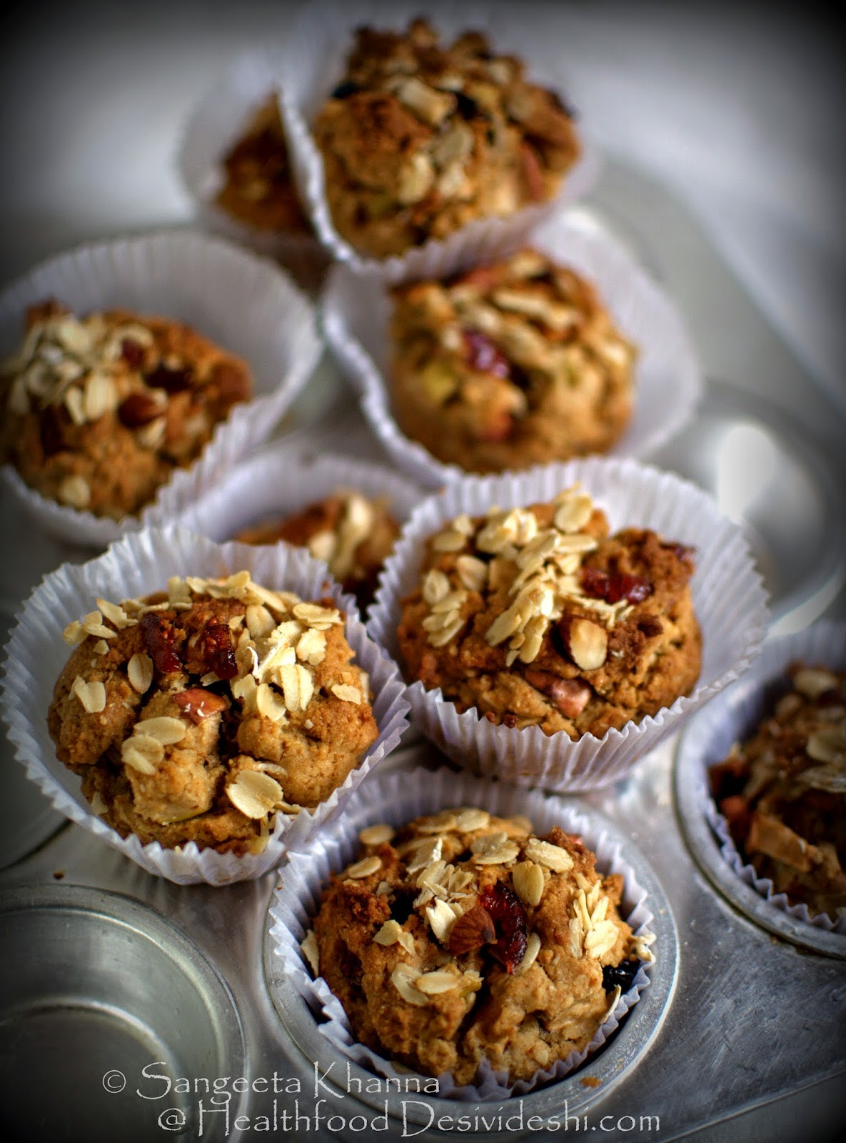 apple granola muffins with whole wheat flour and oats, the cover page recipe