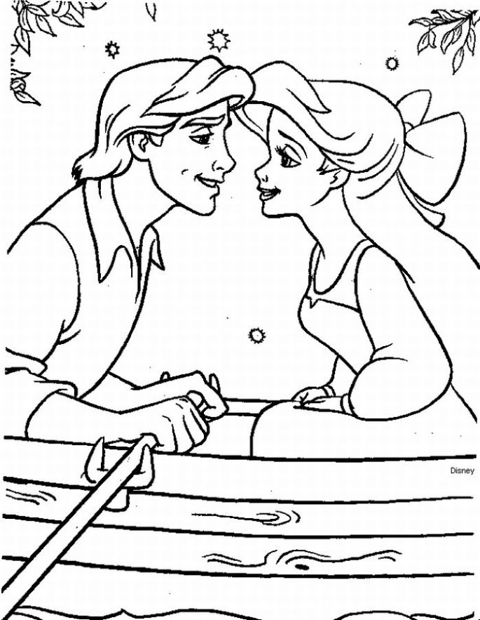 Ariel And Eric Coloring Pages