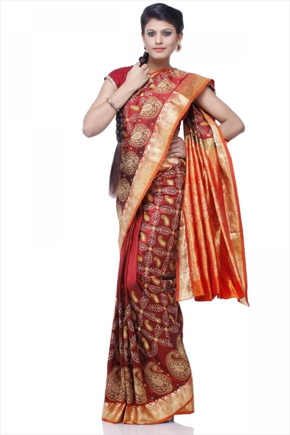 Maroon Kattan Silk Banarasi Saree