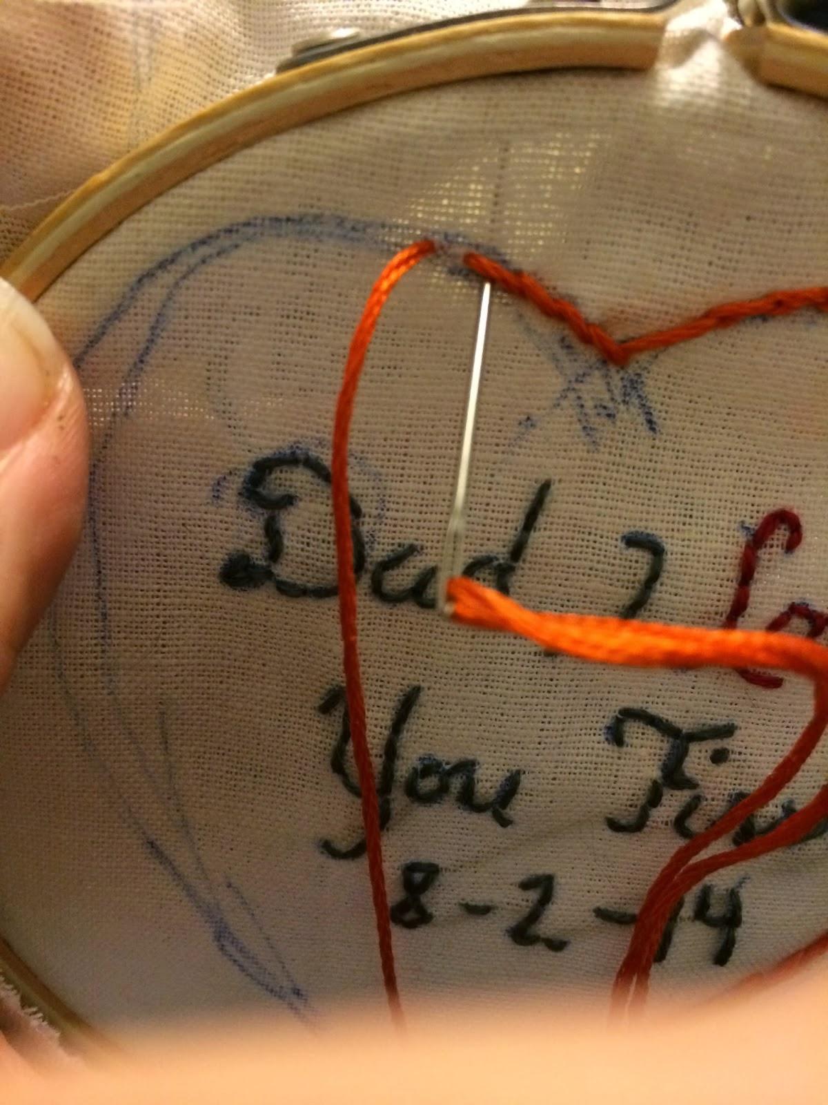 Doeblerghini Bunch:  Dad's Tie Patch - Chain Stitch Step 2