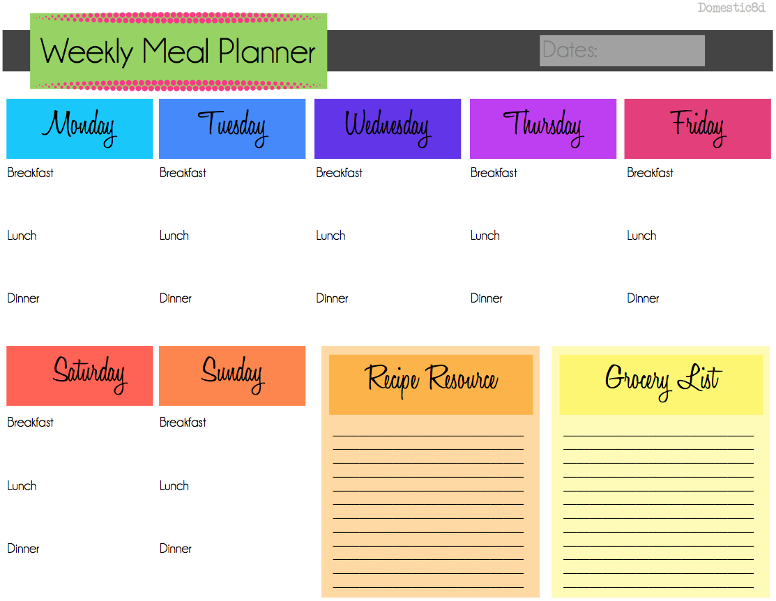 Domestic8d march organization weekly meal planning for Free weekly meal planner template