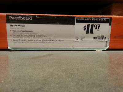 Panelboard on a shelf at Home Depot