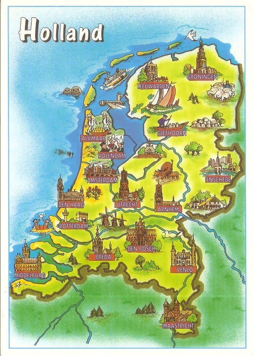 Postcard a la carte netherlands country map country map postcard of holland the netherlands showing the major cities and towns thanks to betty of netherlands gumiabroncs Choice Image