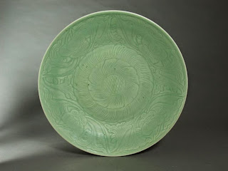 19th C. Carved Celadon Chinese Plate