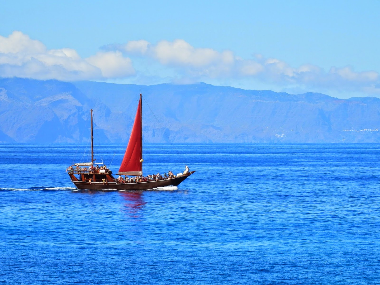 Tourist sailing boat looking out to Gomera, Canary Islands