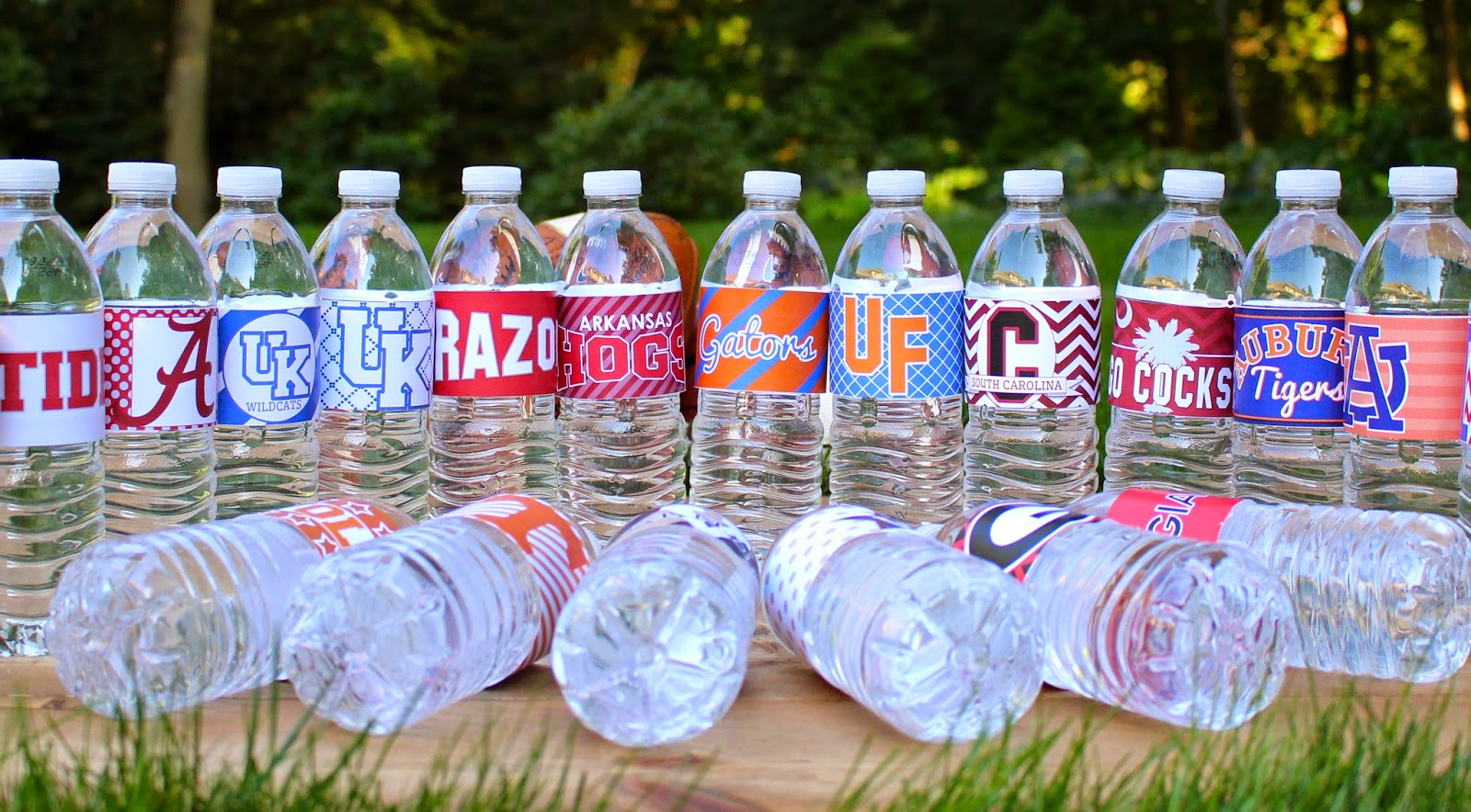 College Football Water Bottle Labels