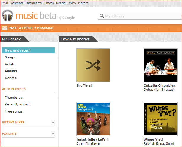 Google Music Invitation and the Library view