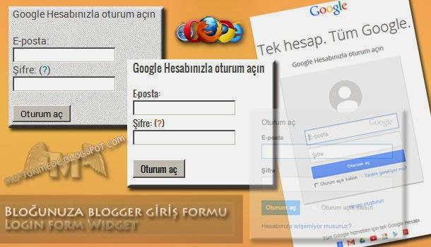 Blogger giriş formu/Login form Widget