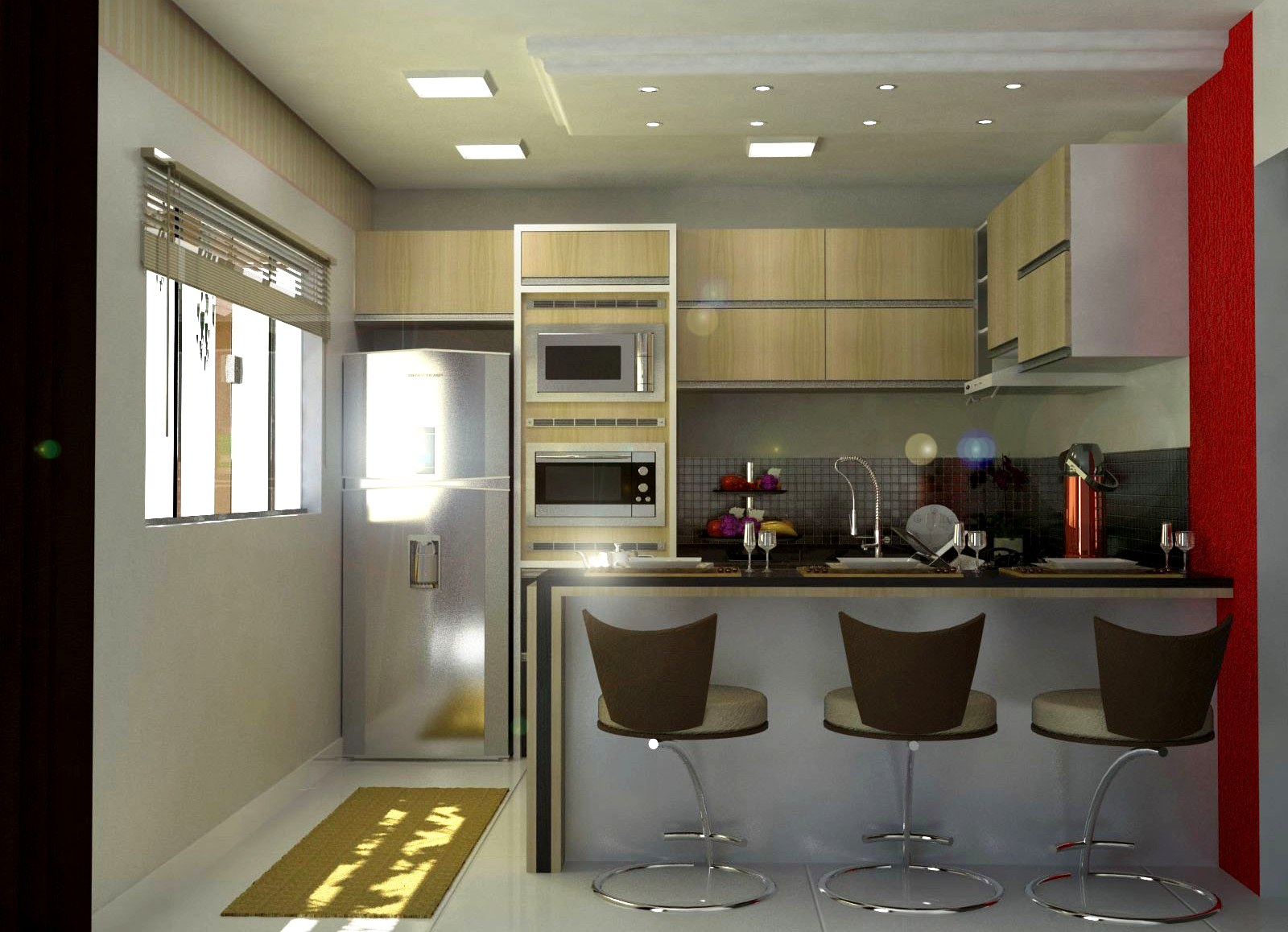 #73211A PROJETO DE MÓVEIS 3D: Cozinha Pequena 1600x1158 px Projeto De Cozinha Com Sala Pequena #2847 imagens