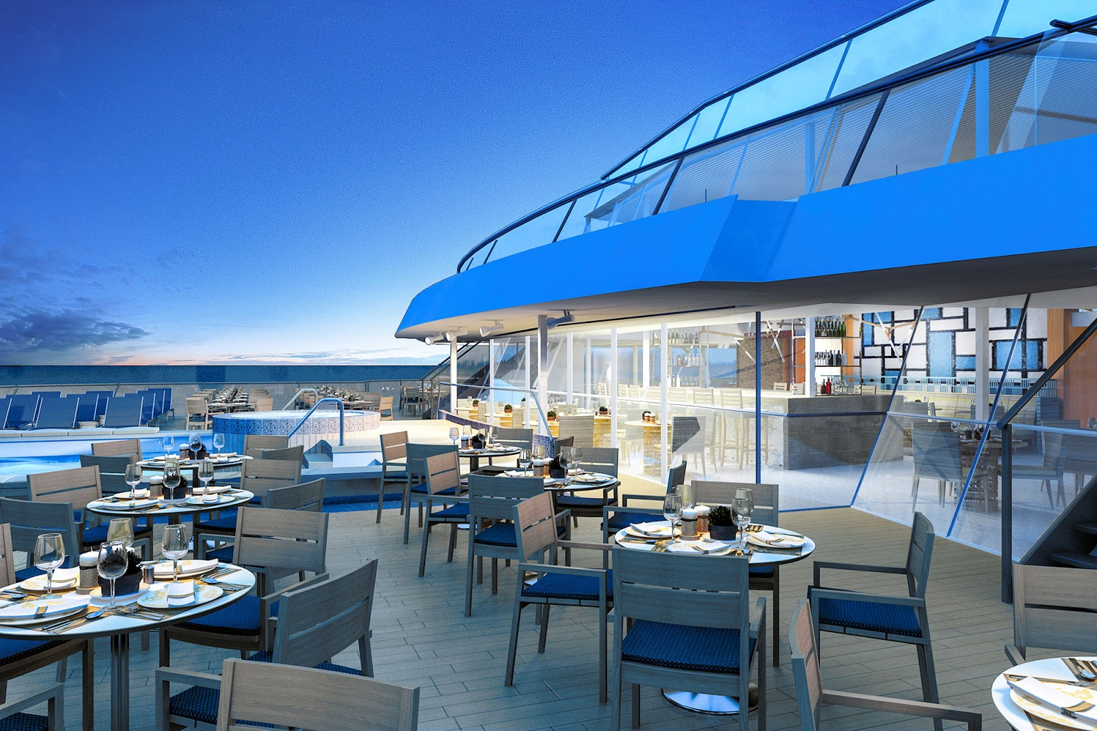 Overlooking the industry's FIRST infinity pool will be Viking's Signature Aquavit Terrace. Photo: ©Viking Cruises.