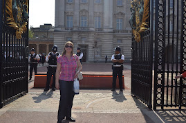 Outside Buckingham Palace,trying to gate crash!