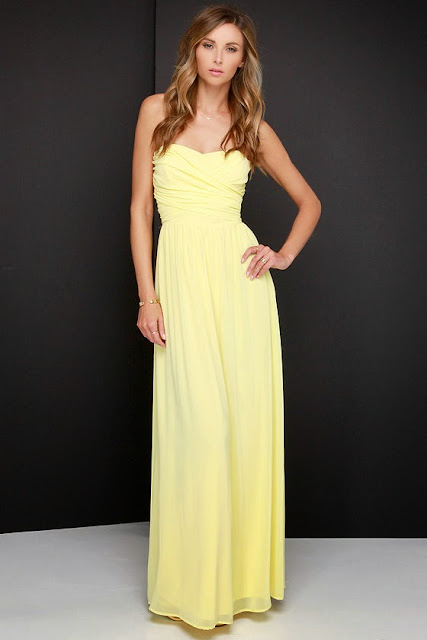 Royal Engagement Strapless Yellow Maxi Dress $68,00