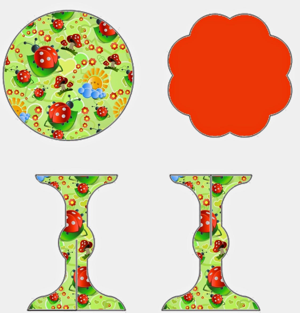 Ladybugs: Free Printable Mini Cupcake Stand.