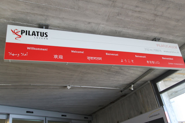 A warm Welcome in different languages at Pilatus Kulm (Mount Pilatus) in Lucerne, Switzerland