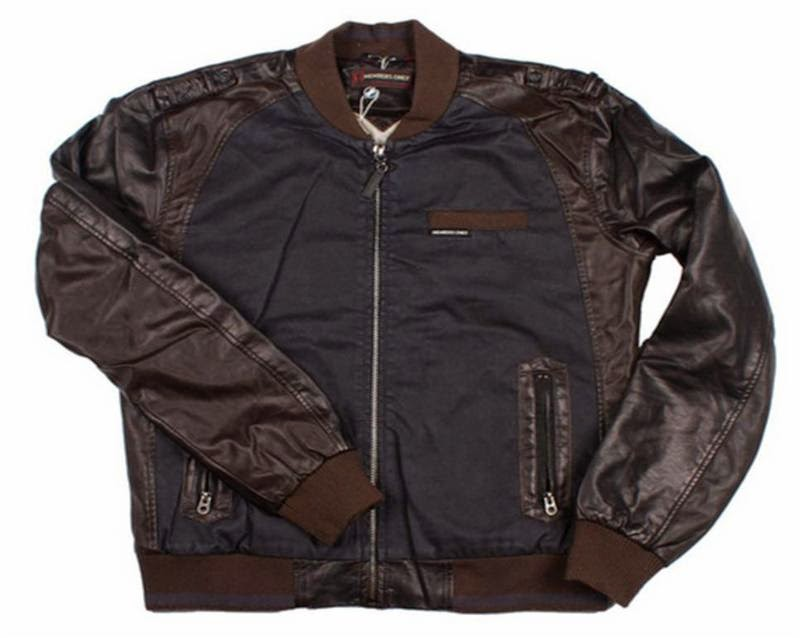 Members Only faux leather Two Tone Baseball jacket