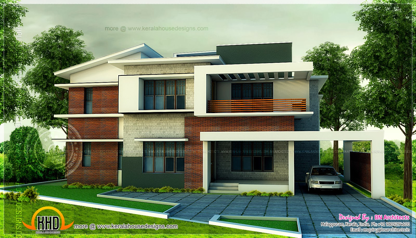 5 bedroom modern home in 3440 sq feet floor plan for Modern 5 bedroom house floor plans