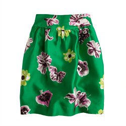 Silk-Wool Punk Floral Skirt