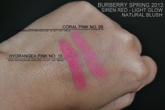 Burberry Spring Summer 2013 Makeup Collection Siren Red Light Natural Glow Blush Hydrangea Pink 10 Coral Pink 9 Indian Beauty Blog Swatches