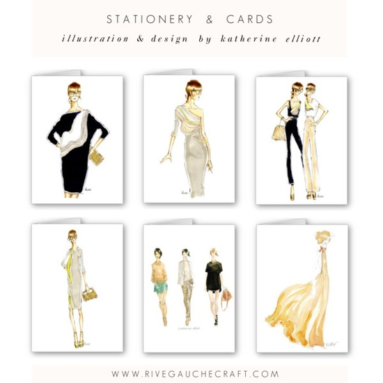 fashion illustration note card stationery new designs in the Rive Gauche Craft boutique