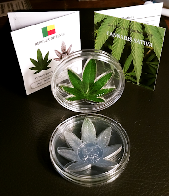 A picture of my Benin 2011 Cannabis Sativa Coin.