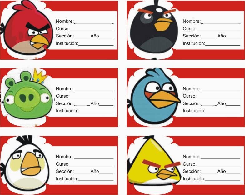 ETIQUETAS PARA CUADERNOS: Angry Birds Otra Vez