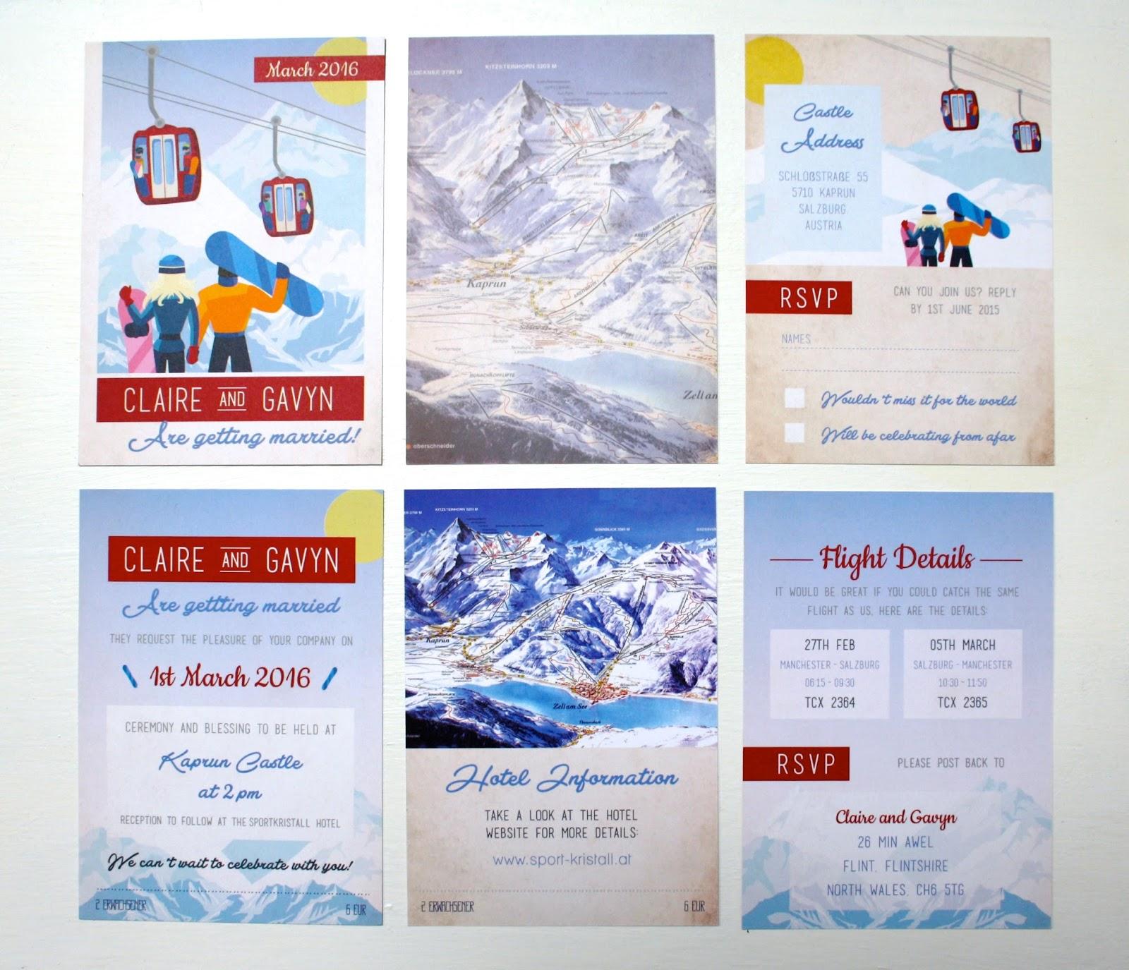 Rodo Creative Bespoke Wedding Stationery Ski Pass Wedding Invitations For The Snowboarding