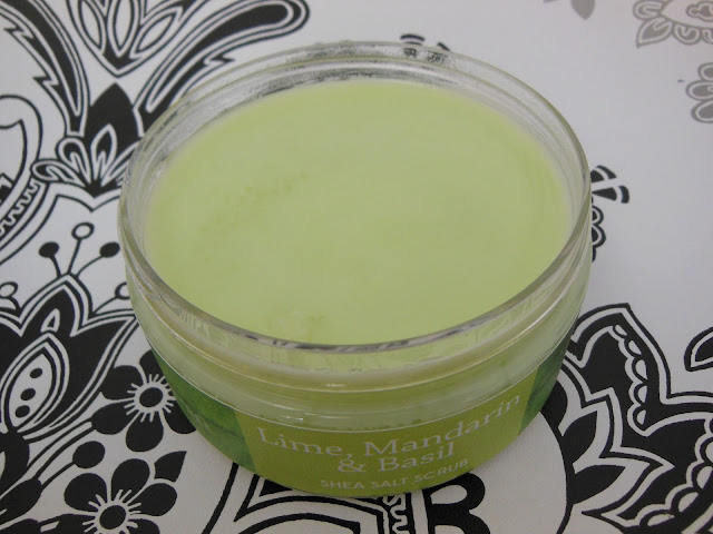 Lime Mandarin and Basil shea salt scrub open pot