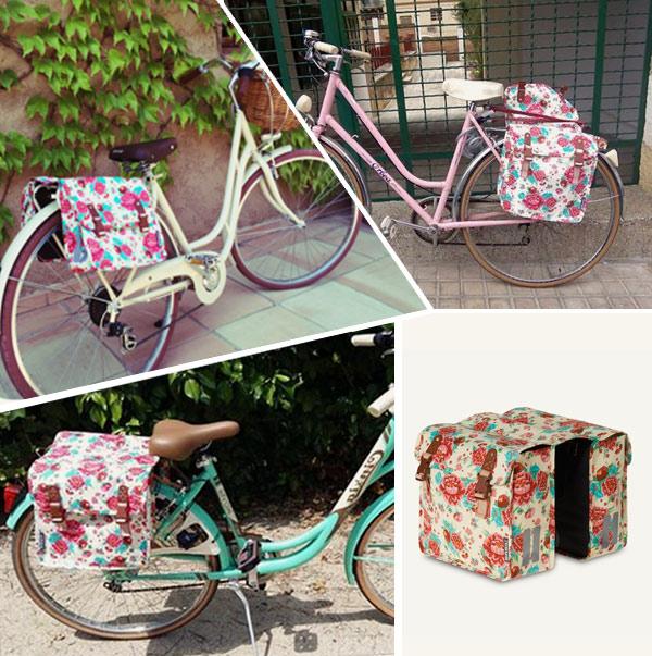 Complementos para bicicletas urbanas: alforjas de flores gardenias blanca.